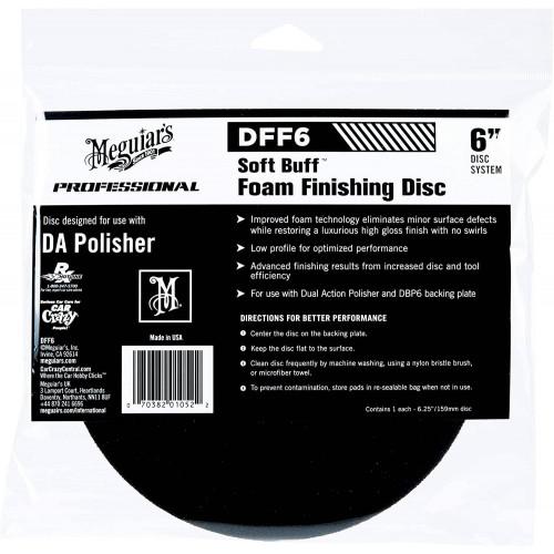 Burete Polish Finish Meguiars Soft Buff DA Foam Finishing Disc, 6, DFF6