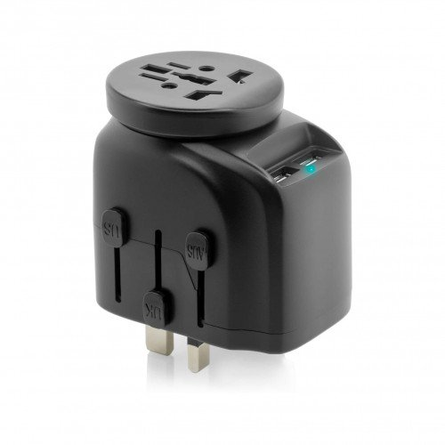 Adaptor Priza Vetter Universal with Dual USB Charger, 2500W Grounded, Black