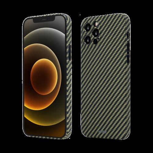 Husa Protectie Telefon Vetter Clip-On Slim Aramid Fiber, Kevlar pentru Iphone 12 Pro, Verde