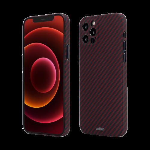 Husa Protectie Telefon Vetter Clip-On Super Slim Aramid Fiber, Kevlar pentru Iphone 12 Pro, Rosu
