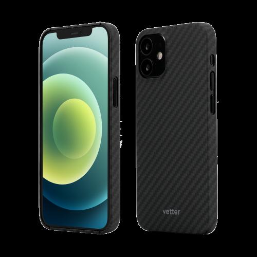 Husa Protectie Telefon Vetter Clip-On Super Slim Aramid Fiber, Kevlar pentru Iphone 12 Mini, Negru