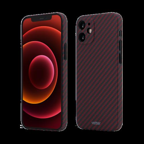 Husa Protectie Telefon Vetter Clip-On Super Slim Aramid Fiber, Kevlar pentru Iphone 12 Mini, Rosu