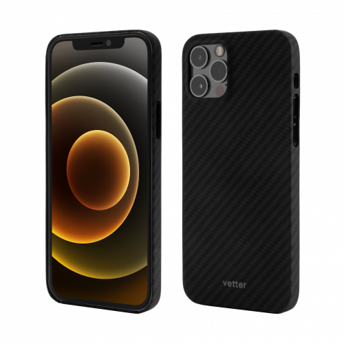 Husa Protectie Telefon Vetter Clip-On Ultra Slim Aramid Fiber, Kevlar pentru Iphone 12 Pro Max, Negru
