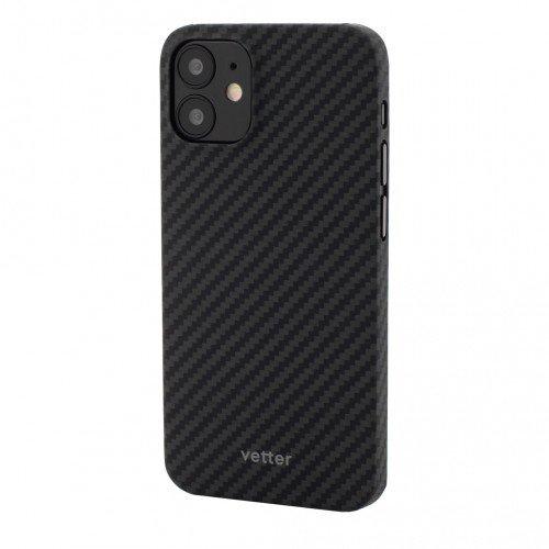 Husa Protectie Telefon Vetter Clip-On Ultra Slim Aramid Fiber, Kevlar pentru Iphone 12 Mini, Negru