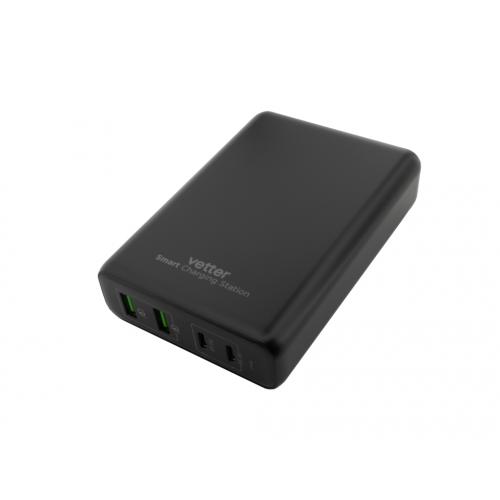Statie de Incarcare Vetter Smart Charging Station, 2 x PD USB-C, 100W, 2 x Quick Charge 3.0, Negru
