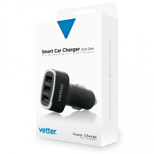 Incarcator Auto Vetter Smart Car Charger 2nd Gen,QC 3.0 and Super Charge,3 x USB