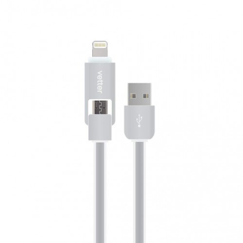Cablu Vetter Lightning and Micro USB 2 in 1 Cable, Grey