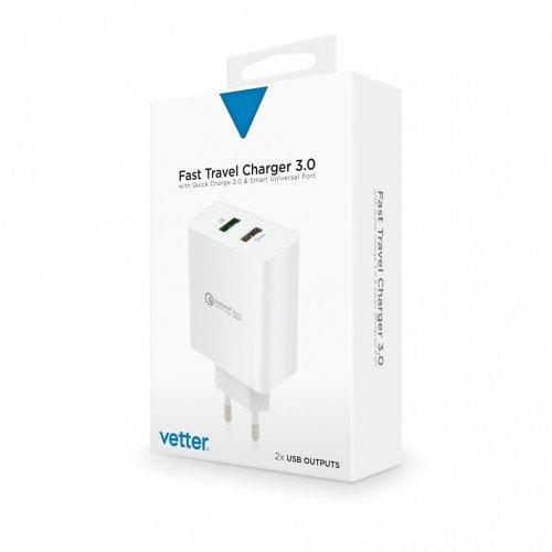 Incarcator de Retea Vetter Fast Travel Charger, Quick Charge 3.0, Smart Port, White