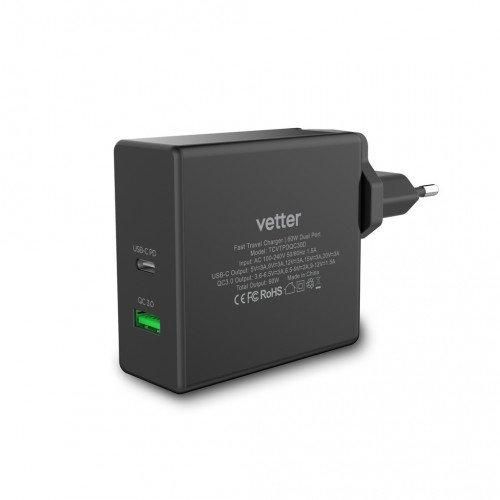 Incarcator retea Vetter Fast Travel Charger with PD, QC 3.0, Dual Port, 60W, USB Type C, Black