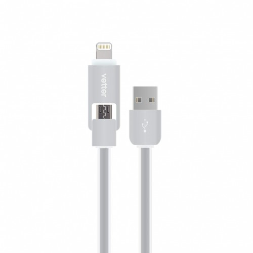 Cablu Vetter Lightning and Micro USB 2 in 1 Cable,Grey