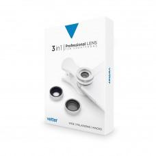 Set lentile Vetter Professional Lens pentru dispozitive mobile, 3 in 1, Wide Angle, Macro, CPL Filter, Silver