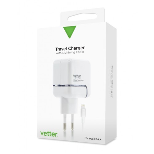 Incacator de Retea Vetter,Dual USB 2.4A,Cablu Lightning,Universal,Alb