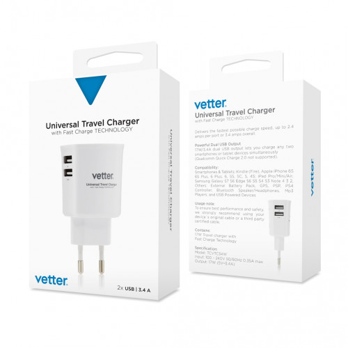 Incarcator de Retea Vetter, Dual USB, 3.4A, Universal, Alb