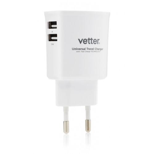 Incarcator de Retea Vetter,Dual USB,3.4A,Universal,Alb