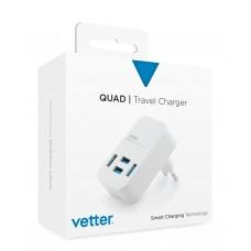 Incarcator de Retea Vetter Quad Travel Charger, 4 x USB, 4A, Alb