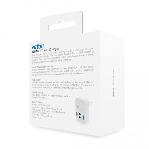 Incarcator de Retea Vetter Quad Travel Charger,4 x USB,4A,Alb