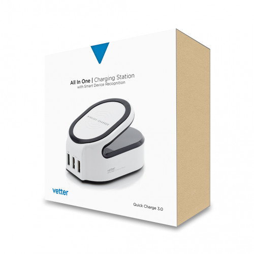 Incarcator Retea Wireless Vetter,All in One Charging Station,1 x USB Quick Charge 3.0,2 x USB Smart Output