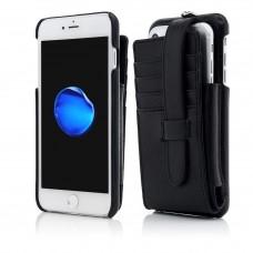 Husa Vetter iPhone 7 Plus, Clip-On Dual Phone Case, Genuine Leather, Black