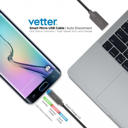 Cablu de Date Vetter Micro USB,Auto Disconnect,Led Status Indicator,1.2m,Black