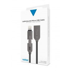 Cablu Date/Incarcare Vetter Lightning and Micro USB Cable, Zinc Alloy, Grey