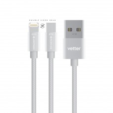 Cablu Date/Incarcare Vetter Lightning with Micro USB Dual Cable, Nylon Braided Wire