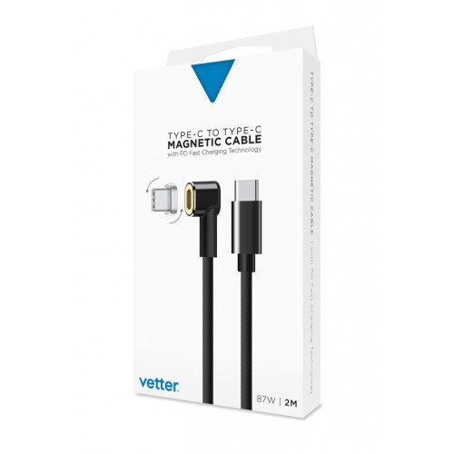 Cablu de date Vetter,Nylon Braided,USB Type C,Conector magnetic,Black